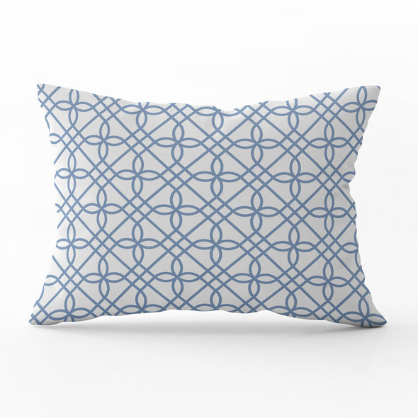 Greek Gate trellis breeze blue rectangle cushion