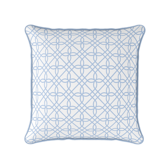 cornflower blue trellis piped cushion