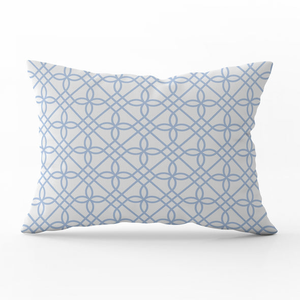 Greek Gate trellis cornflower blue rectangle cushion