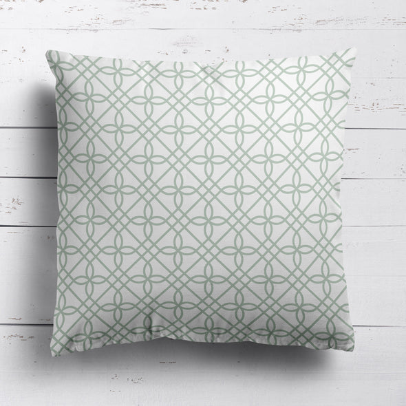 green trellis patterned fabric cushions