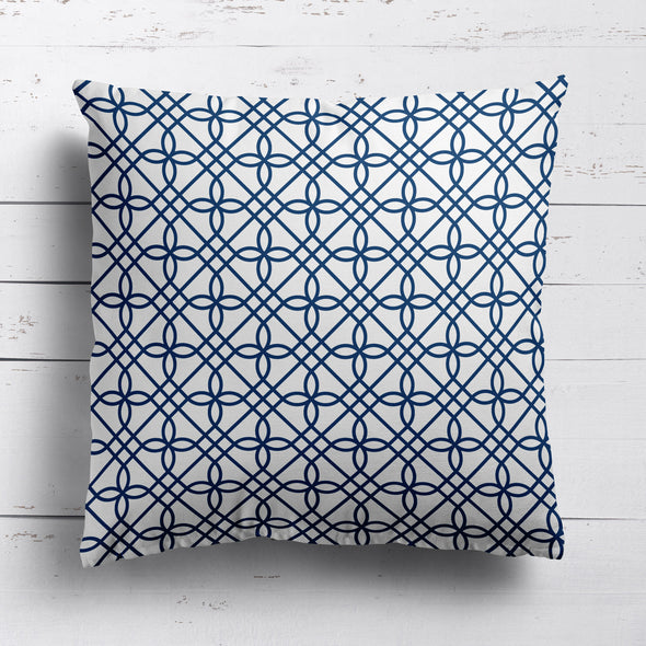 Greek Gate trellis cotton linen cushion blue