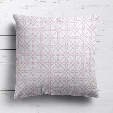 Greek Gate trellis cotton linen cushion pink