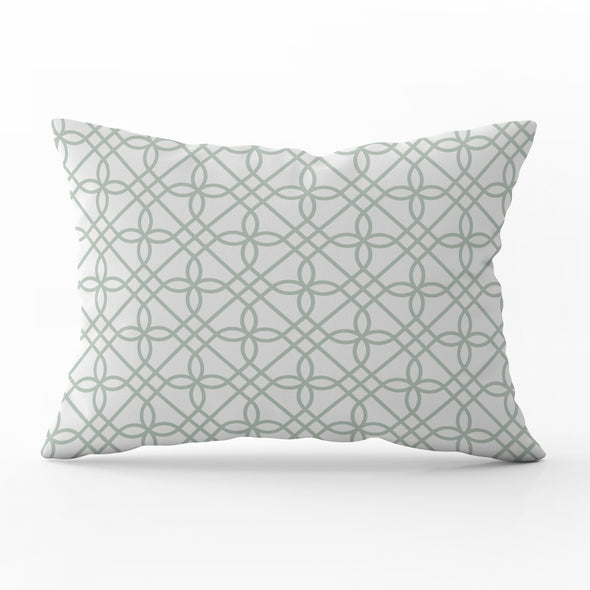 Greek Gate Eau De Nil Green Rectangle Cushion