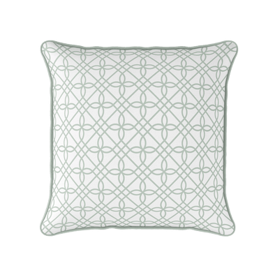 Trellis pattern green cushion