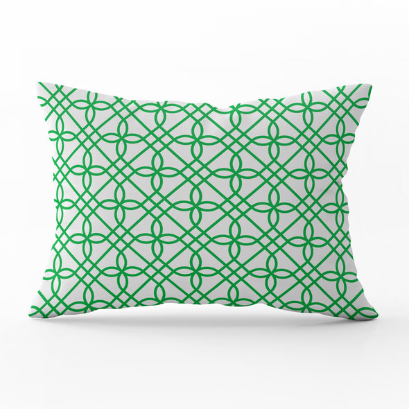 Greek Gate trellis emerald green rectangle cushion