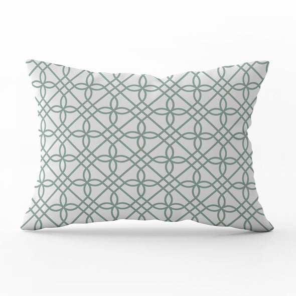 Greek Gate Trellis eucalyptus green rectangle cushion