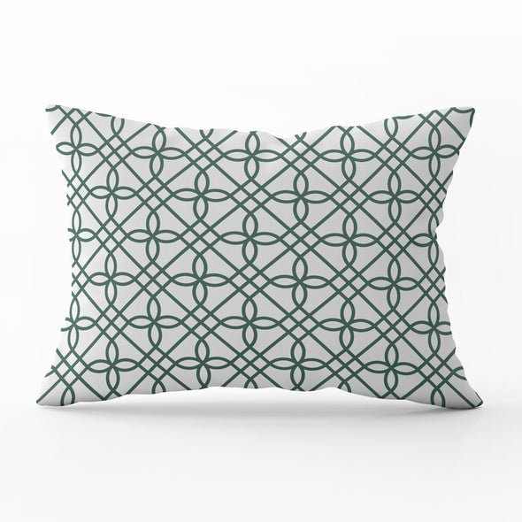 Greek Gate trellis leaf green rectangle cushion
