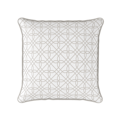 Neutral trellis pattern cushion