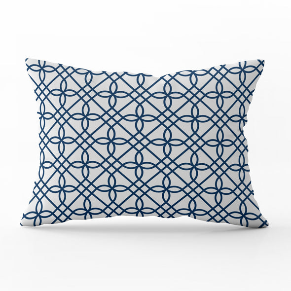 Greek Gate trellis navy blue rectangle cushion