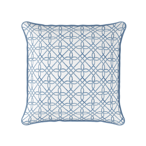 blue trellis pattern piped cushion