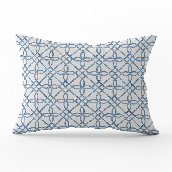Greek Gate rustic blue rectangle cushion