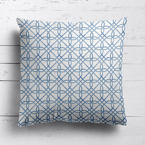Greek Gate rustic cotton linen cushion blue