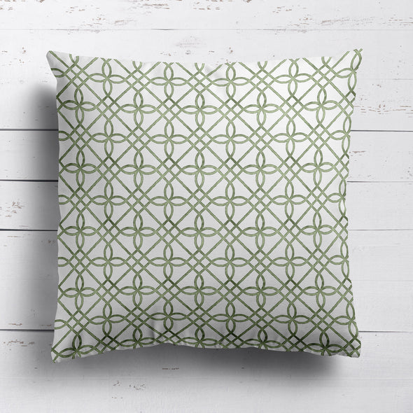 green trellis pattern fabric cushion