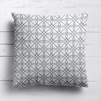 Greek Gate rustic cotton linen cushion grey