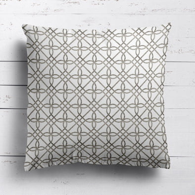 Greek Gate rustic cotton linen cushion neutral brown