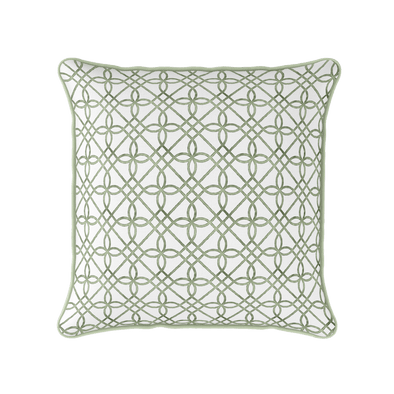 green trellis pattern piped cushion