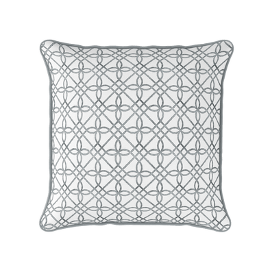 grey trellis pattern piped cushion