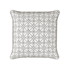 neutral trellis pattern piped cushion