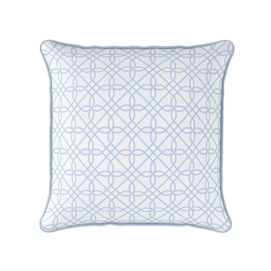 pale blue chinoiserie trellis cushion