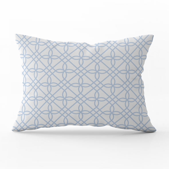 Greek Gate trellis serenity blue rectangle cushion