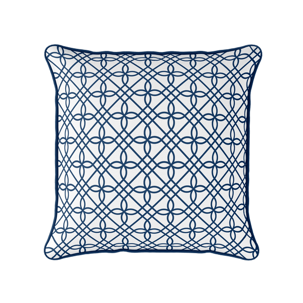 navy blue trellis piped cushion