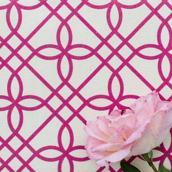 Greek Gate trellis fabric raspberry pink