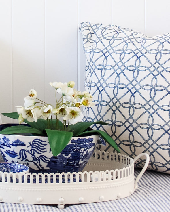 Greek Gate trellis cushion
