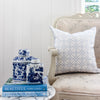 Greek Gate serenity blue square cushion