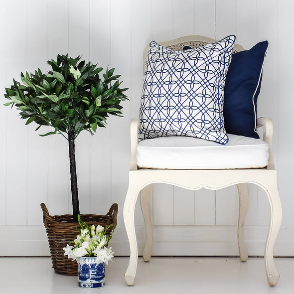 Navy cushion with white piping French chair