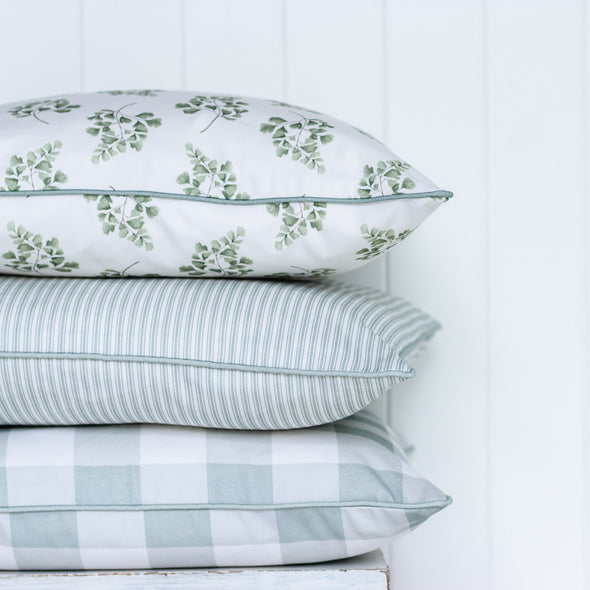 Stack of green cushions