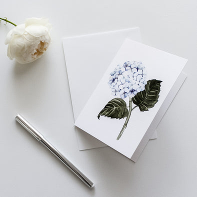Hydrangea Blue Greeting Card Watercolour