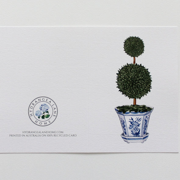 Topiary Tree in Chinoiserie Pot Greeting Card Watercolour