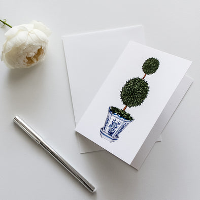 Double Topiary Tree in Chinoiserie Pot Greeting Card