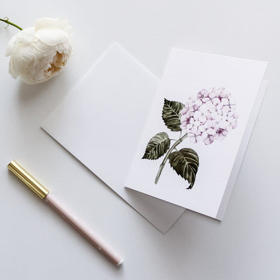 Pink hydrangea greeting card watercolour