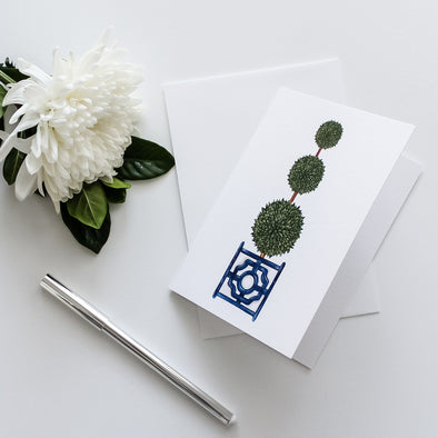 Triple Topiary Tree in Planter Box Greeting Card