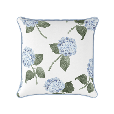 Blue hydrangea piped cushion