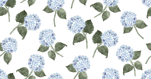 Hydrangea Bloom Blue Fabric on White