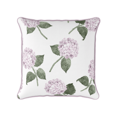 Pink hydrangea piped cushion