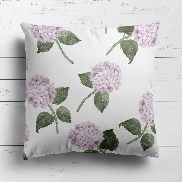 Pink Hydrangea Bloom printed cotton linen cushion