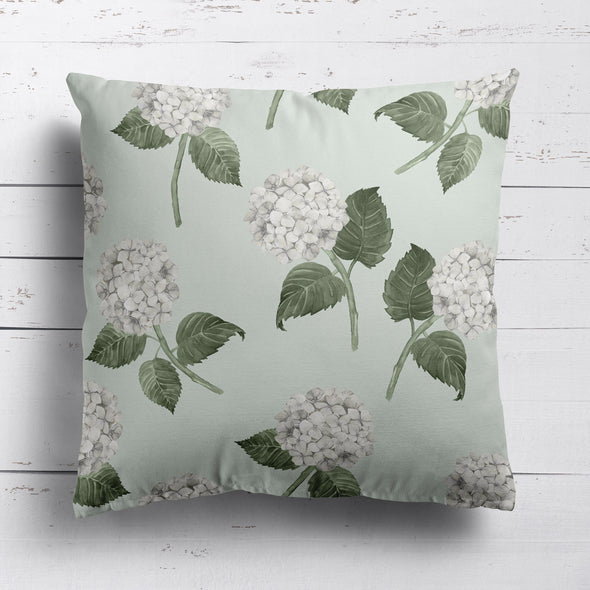 hydrangea bloom cushion white and green