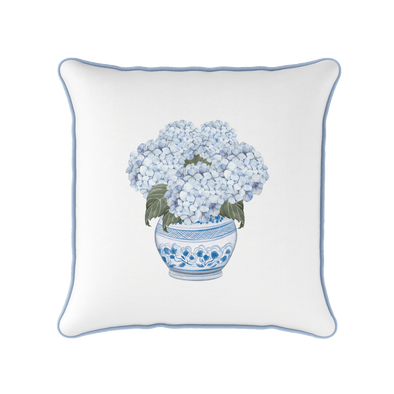 Hydrangea Chinoiserie Piped Square Cushion