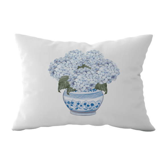 Hydrangea Chinoiserie Rectangle Cushion