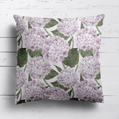 Pink Hydrangea Garden printed cotton linen cushion