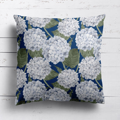 Hydrangea Garden Custom Cushion - Navy