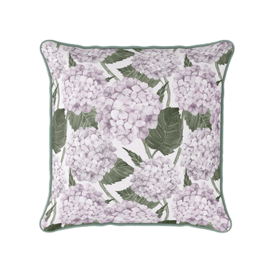 Pink hydrangea garden piped cushion