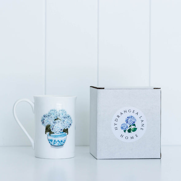 Hydrangea fine bone china mug