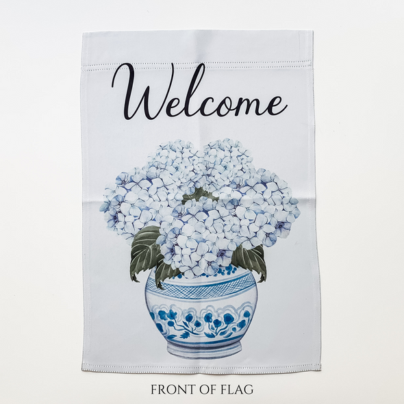 Welcome Chinoiserie Hydrangea Garden Flag