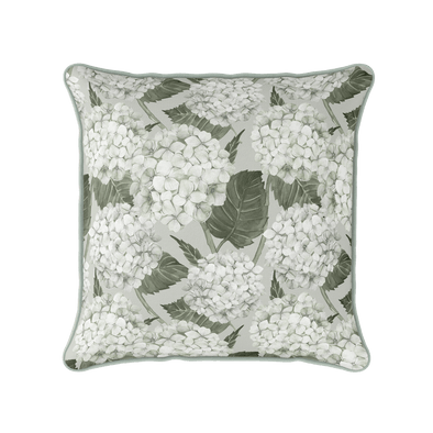 Hydrangea green and white piped cushion