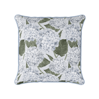 Blue Hydrangea Garden piped cushion