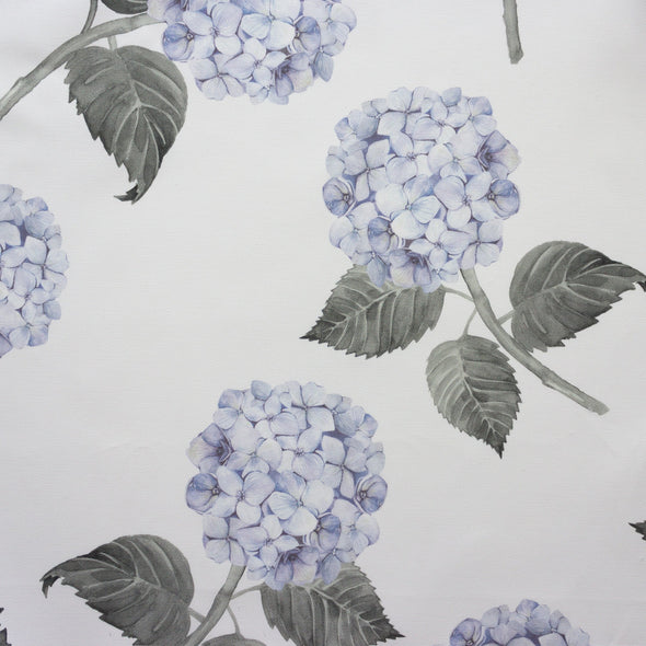 Blue hydrangea fabric on white